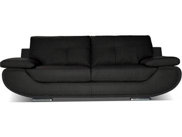 Canapé 3 places cuir luxe ORGULLOSA - Noir