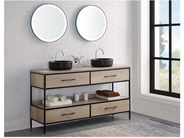 Ensemble salle de bain PLUNA - meuble sous vasque + double vasque - effet bois