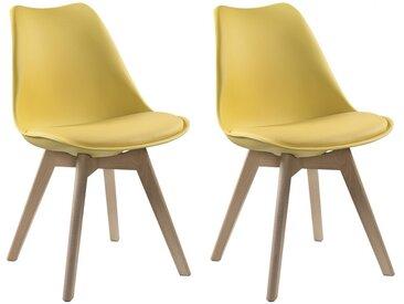 Lot de 2 chaises JODY - Polypropylène et Hêtre - Jaune