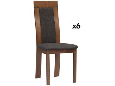 Lot de 6 chaises BELINDA - Hêtre et tissu - Coloris : Noyer et anthracite