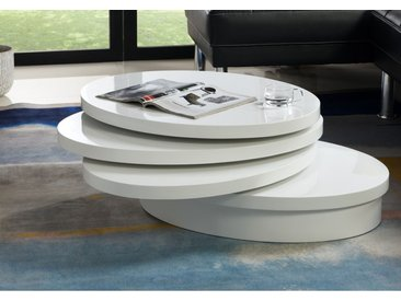 Table basse pivotante ovale CIRCUS - MDF laqué - Blanc