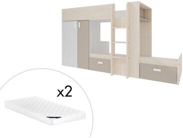 Lits superposés JULIEN - 2x90x190cm - Armoire intégrée - Blanc et taupe + matelas