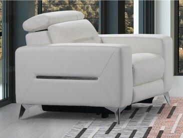 Fauteuil relax électrique PAULY en cuir - Blanc