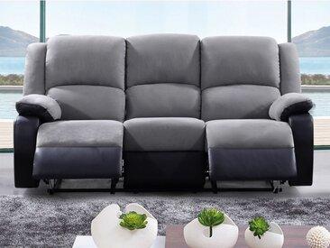 Canapé 3 places relax en microfibre et simili BILSTON II - Gris et noir