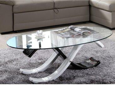 Table basse bicolore INFINITY II - Verre trempé - Coloris noir et blanc