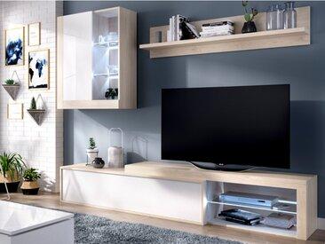 Mur TV AKABA - avec rangements - LEDs - Coloris : Chêne & blanc