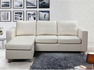 Canapé d'angle réversible en simili ACKLEY - Ivoire