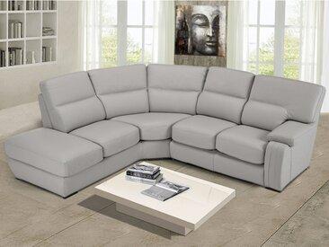 Canapé d'angle RODEZ 100% cuir de buffle - Gris clair - Angle gauche