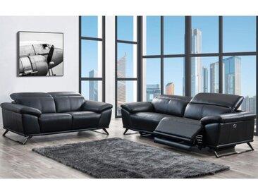 Canapé 3+2 places relax électrique en cuir AZIDEE - Noir