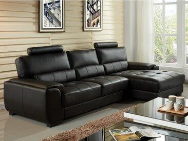Canapé d'angle en cuir METROPOLITAN II - Noir - Angle droit