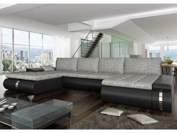 Canapé d'angle panoramique convertible et réversible en tissu et simili AZELMA - Noir et gris clair