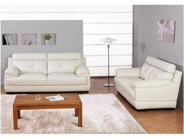 Canapé 3+2  places en cuir de buffle MANUELLA - Blanc ivoire