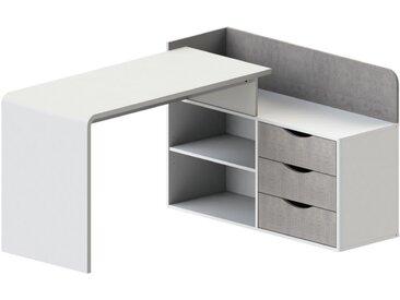 Bureau d'angle DECLAN - MDF - 3 tiroirs - Coloris : Blanc & Béton