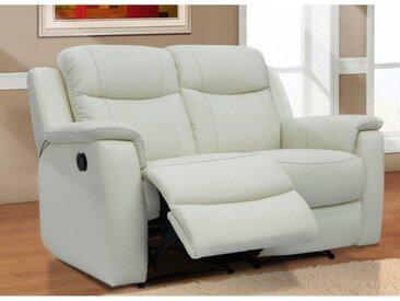 Canapé 2 places relax EVASION en cuir - blanc ivoire