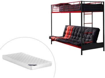 Lit mezzanine MODULO IV - 90 x 190 cm - Avec banquette convertible - Métal - Noir et rouge + Futon + Matelas