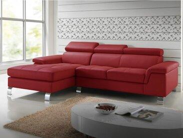 Canapé d'angle cuir MISHIMA - Rouge - Angle gauche