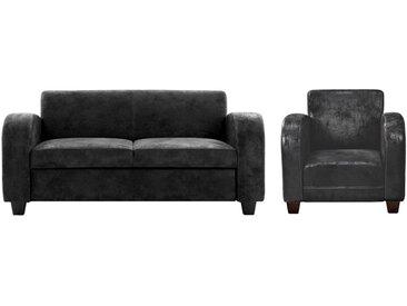 Canapé 2/3 places et fauteuil club en microfibre aspect cuir vieilli MADIE - Noir