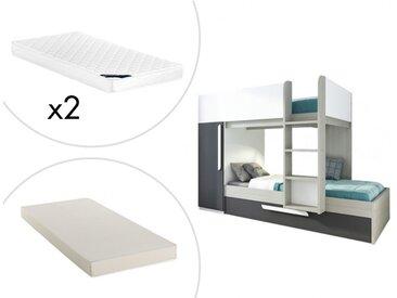 Lits superposés avec tiroir lit gigogne ANTONIO - 3x90x190cm - Armoire intégrée - Pin anthracite et blanc + matelas