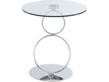 Table d'appoint JOLINE - Verre trempé transparent & pied acier