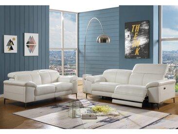 Canapé 3+2 places relax électrique en cuir YORO - Blanc