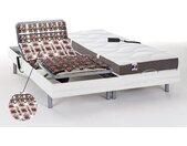 Lit électrique relaxation tout plots matelas 100% latex 5 zones JUPITER de DREAMEA - Blanc - 2 x 90 x 200 cm - moteurs OKIN