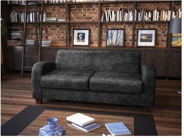 Canapé 2/3 places club en microfibre aspect cuir vieilli MADIE - Noir