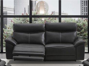 Canapé 3 places relax électrique en cuir METRONOMY - Noir
