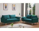 Canapé 3 places en tissu RAPAZAN - Bleu canard
