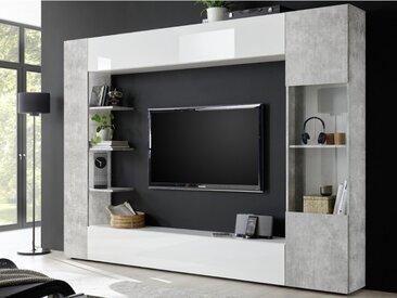 Mur TV SIRIUS avec rangements - Coloris : Blanc laqué et béton