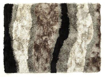 Tapis shaggy ECUME - polyester tufté main - Taupe, blanc et noir - 140x200cm