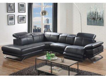 Canapé d'angle relax électrique en cuir PUNO - Noir - Angle gauche