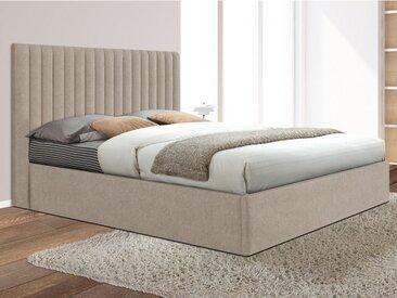 Lit coffre avec tête de lit coutures verticales SARAH - 160x200cm - Tissu - Beige