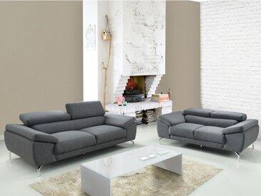 Canapé 3+2 places en tissu GRETEL - Gris