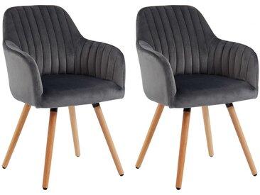 Lot de 2 chaises avec accoudoirs ELEANA - Velours & Métal Effet Bois - Gris