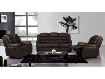 Canapé 3+2+1 places relax en cuir de buffle PLITON - Chocolat