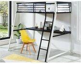 Lit mezzanine MALICIA - 90 x 190 cm - bureau intégré - Noir et blanc