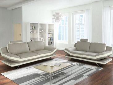 Canapé 3+2 places en cuir LATIKA - Bicolore beige et ivoire