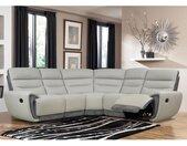 Canapé angle relax COSMY en cuir  et détails microfibre - Gris clair et anthracite