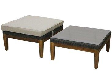 Table basse et pouf de jardin NASHIK en acacia et résine tressée - Assise beige