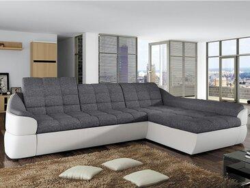 Canapé d'angle convertible en tissu et simili FAREZ - Bicolore gris et blanc - Angle droit