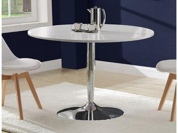 Table à manger JELILA - 4 couverts - MDF laqué blanc et métal chromé