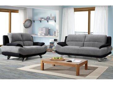 Canapé 3+2 places en microfibre MUSKO - Bicolore gris et noir