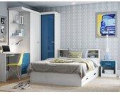 Lit BORIS avec tiroirs et rangements - blanc - 140x190 cm