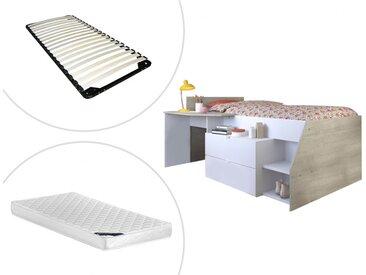 Lit GISELE avec bureau et rangements inclus - 90 x 200 cm - Blanc et chêne + matelas + sommier
