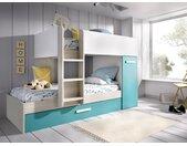 Lits superposés avec tiroir lit gigogne ANTHONY avec rangements 3 x 90 x 190 cm - Blanc, chêne et bleu