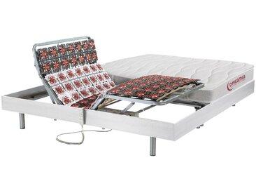 Lit électrique relaxation tout plots matelas accueil latex LAODICE de DREAMEA - moteurs OKIN - blanc - 2 x 90 x 200 cm
