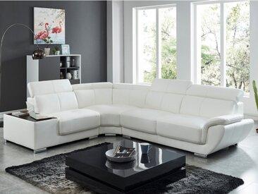 Canapé d'angle en cuir NAHIA - Blanc - Angle gauche