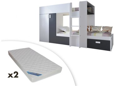 Lits superposés JULIEN - 2x90x190cm - Armoire intégrée - Pin blanc et noir + 2 matelas ZEUS 90x190