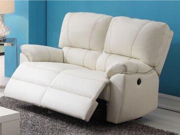 Canapé 2 places relax électrique en cuir MARCIS - Ivoire