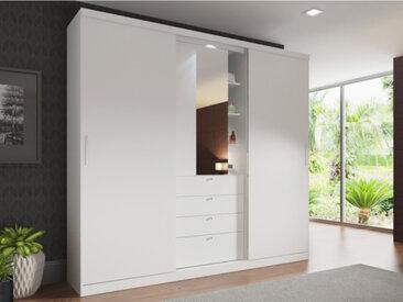 Armoire BODIL - portes coulissantes - Miroir et tiroirs - L.240cm -  Blanc